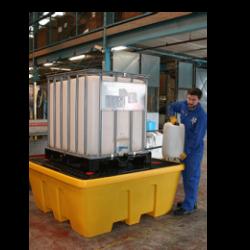 Jonesco műanyag kármentő IBC konténerhez ráccsal, sárga, rakatolható