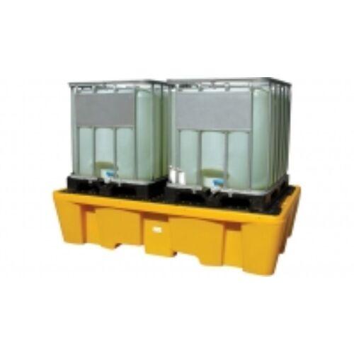 Jonesco műanyag kármentő két IBC konténerhez ráccsal, sárga, rakatolható